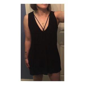 Cute Black cross cross v-neck dress